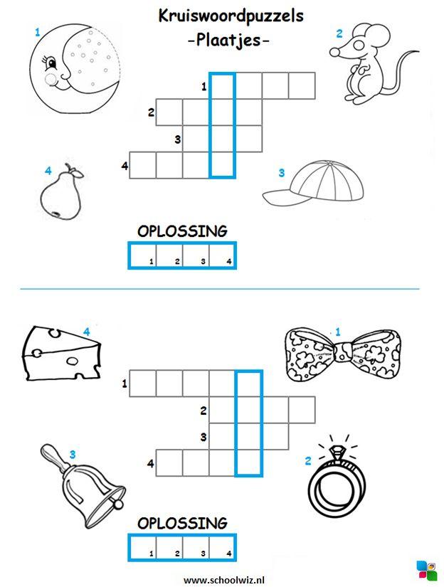 Mini kruiswoordpuzzel 2. #puzzels #kruiswoordpuzzels #kinderpuzzels #plaatjes #schoolwiz