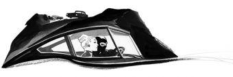 Quadro La Jaguar nella notte con Diabolik ed Eva Kant