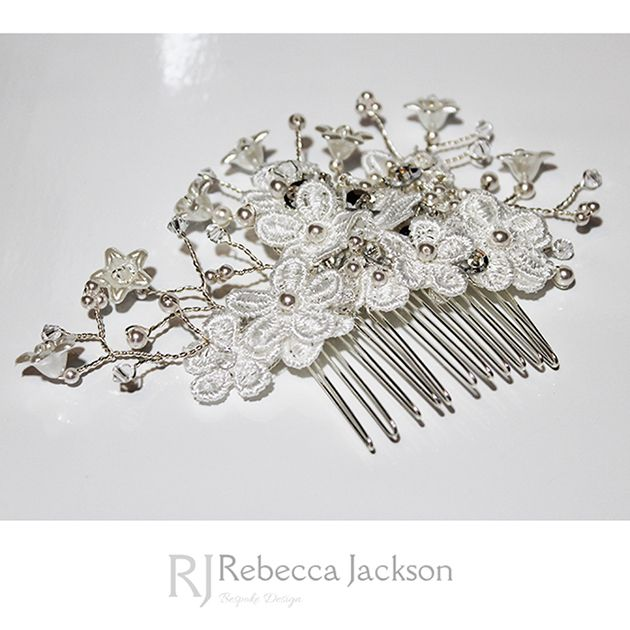 Bridal / Wedding Hair Comb, Headpiece, ISABELLE, by Rebecca Jackson Bespoke.   	New Collection: Guipere Lace flowers are hand sewn layer upon layer to create a 3D effect, sequins and Swarovski Crystals and Pearls are hand beaded to add sparkle and depth and sprays of Flowers are created through