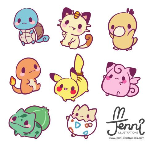 ❤ JENNI . illustrations ❤ — Chibi Pokemon Always the first 150 pokemon are…