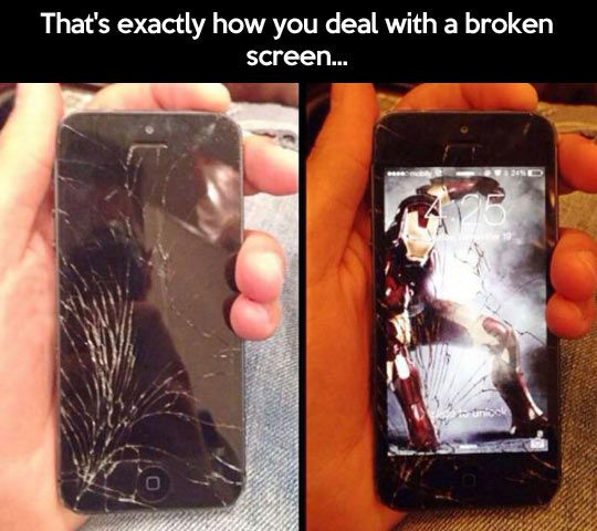 This is how geeks deal with a broken iPhone screen.