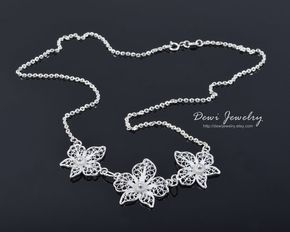 Orchid Necklace - 925 Sterling Silver Filigree - Handmade Jewelry - Necklace - Silver Necklace #handmade #sterlingsilver