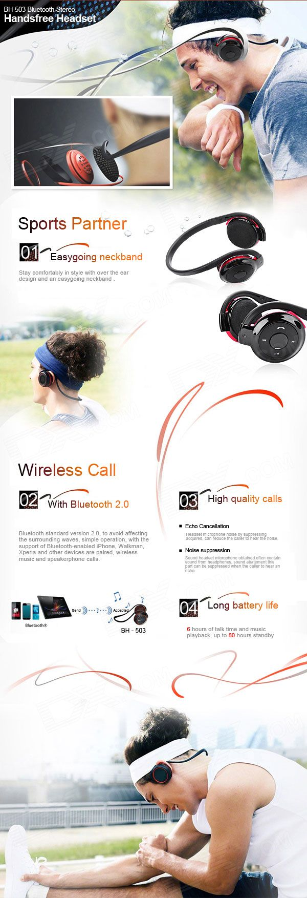 Buy BH-503 Bluetooth Stereo Handsfree Headset - Black + Red (6-Hour Talk/80-Hour Standby)