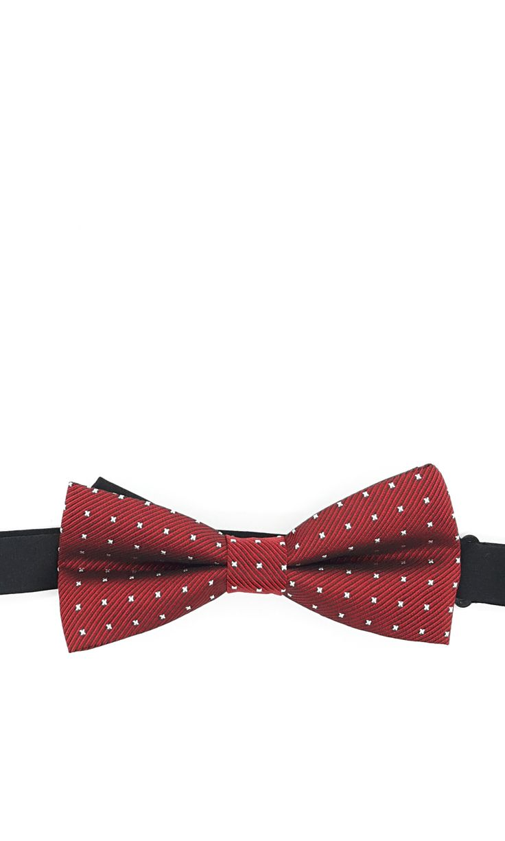 Maroon Pretied Bow Tie With Little Silver Cross. A pretied bow tie with little silver crosses on a maroon background. Free international shipping available with all orders. – Ties.sg