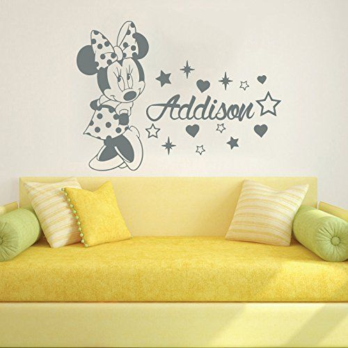 sticker mural personnalisable nom personnalis c ur disney minnie mouse souris oreilles toiles. Black Bedroom Furniture Sets. Home Design Ideas