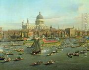 The River Thames with St. Paul's Cathedral on Lord Mayor's D...  by (Giovanni Antonio Canal) Canaletto