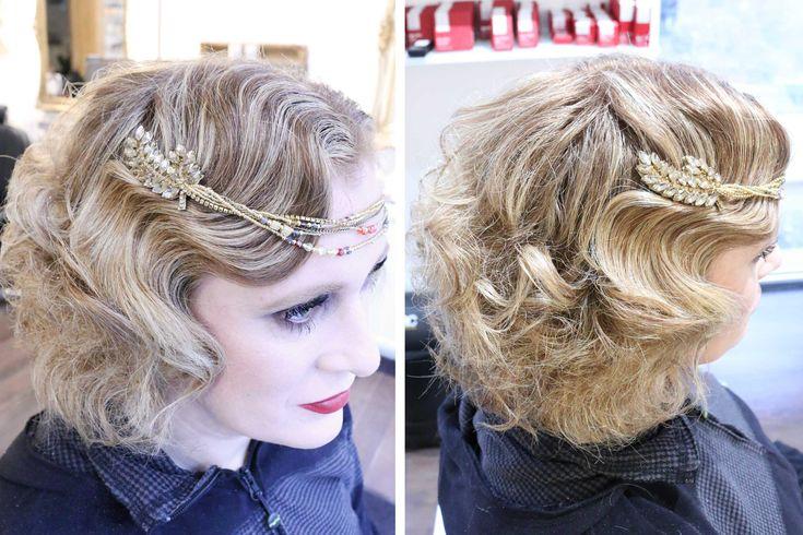 Seitlich gelegte Wasserwelle mit Haarschmuck / Intensives Abend-Make-up / 20er Jahre Styling by PÜPPIKRAM Hair & Make-up, Friseur und Beautysalon in Berlin