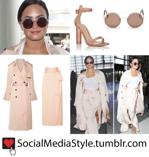 Demi Lovato's Round Sunglasses, Blush Pink Trench Coat and ...