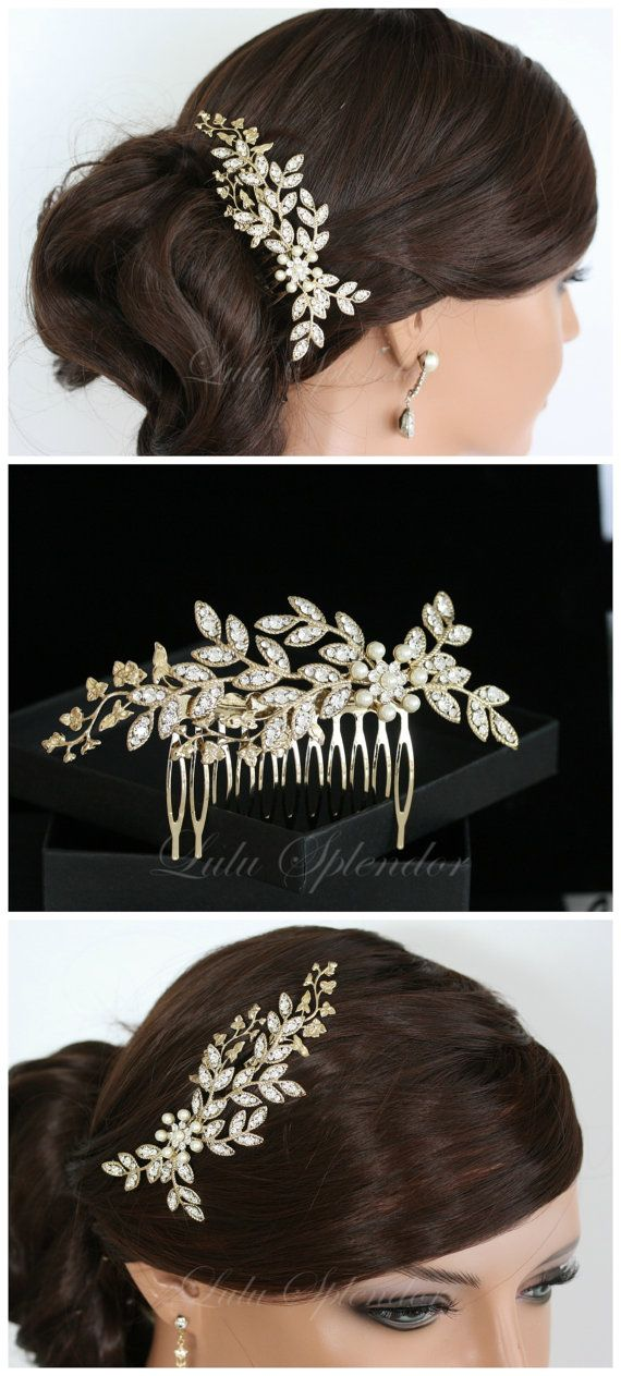 Wedding Hair Comb Crystal Leaf Comb Gold Rhinestone Bridal Comb Headpiece White Ivory Pearl Wedding Hair Accessories NEVE 2.