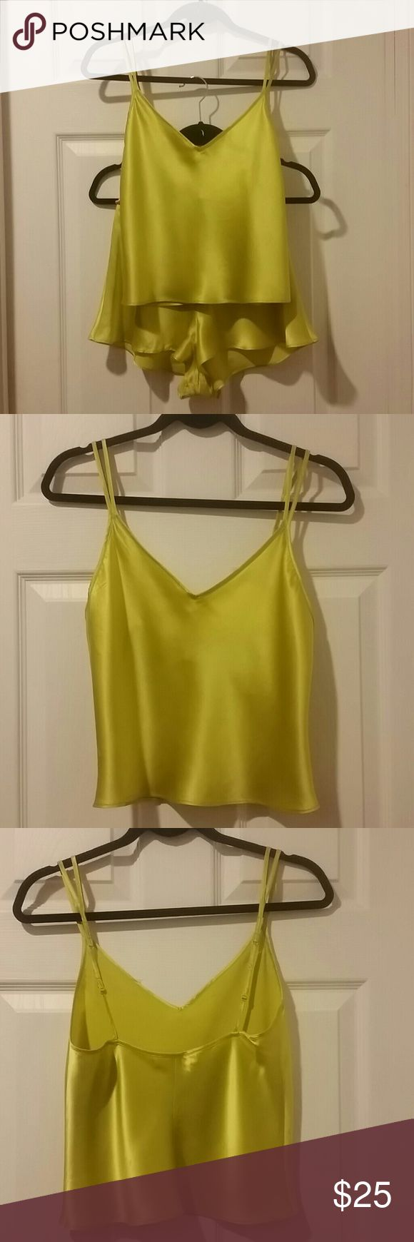 """**VICTORIA SECRET** CAMI & TAP SHORT SET *Victoria Secret* Silky Vivid Lime Green Cami & Tap Short Set. Tooo Die For! So lucious and flowy! The single split to double adjustable spaghetti straps on each shoulder help to ease slippage. The Cami is V shaped at front and straight across back. Side seam drop is 10"""". The tap pant drop is 11"""" as well. A MUST HAVE! Victoria's Secret Intimates & Sleepwear Chemises & Slips"""