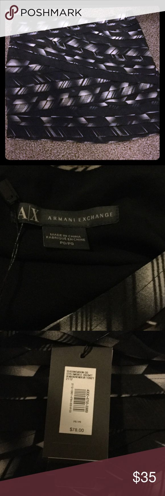 Darling mini skirt AX beautiful detail fully lined Back white pattern unique and so cool nicely crafted .. Armani Exchange size OP zip up hidden on side .. shell 100% polyester lining polyester and 5% spandex perfect staple to add to your closet 🌸 A/X Armani Exchange Skirts Mini