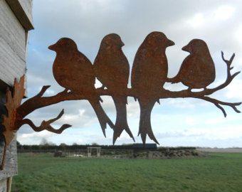 Rusty vogel 2 ontwerpen / Bird home decor / roestig metaal