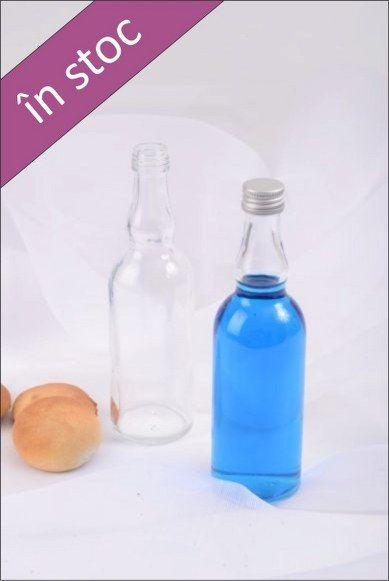 Sticla 100 ml rotunda, foarte utila pentru a fi oferita ca si marturie de nunta, umpluta cu vin, tuica, sirop, etc.