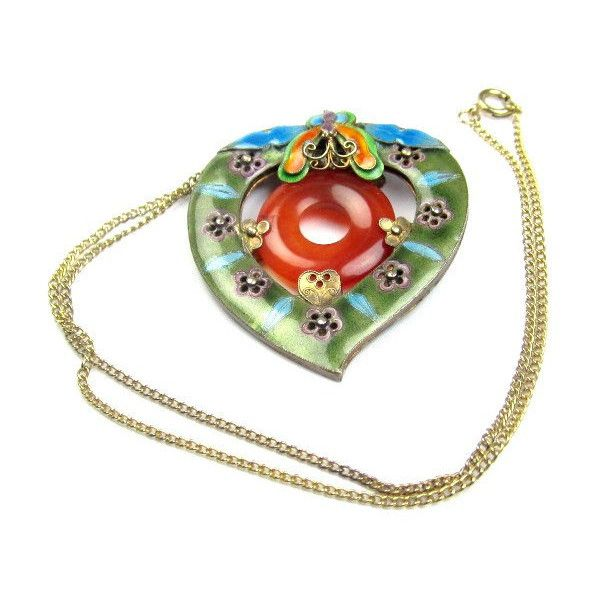 Art Deco Chinese Jade and Enamel Silver Pendant 1920s Vintage Wedding... (825 ILS) ❤ liked on Polyvore featuring jewelry, pendants, silver jewellery, red pendant, bridal jewellery, silver jewelry and jade pendant