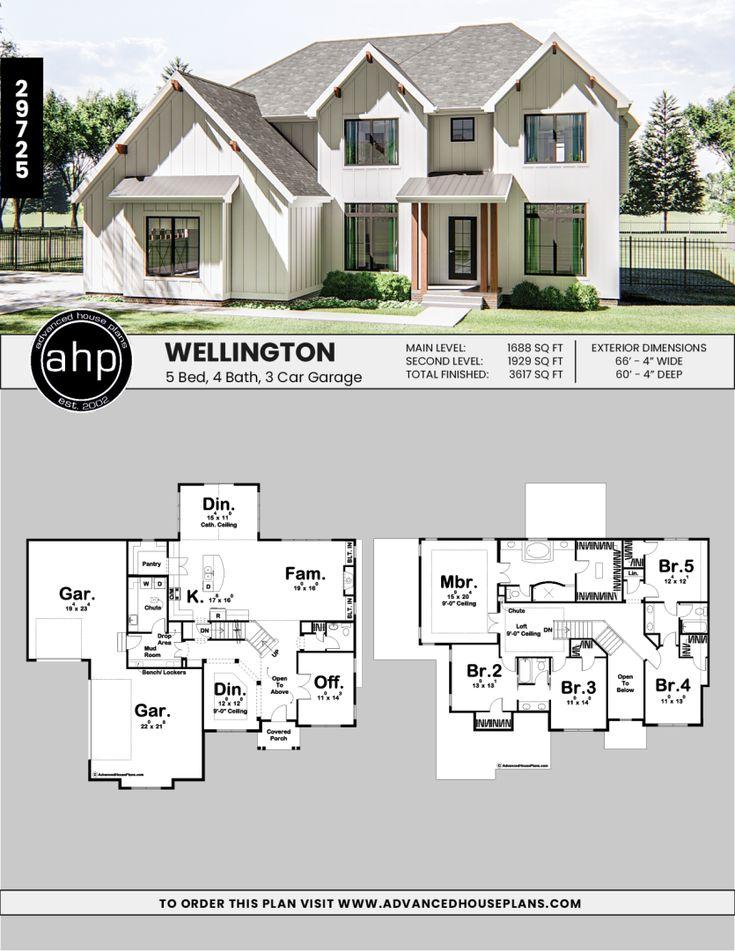 Wellington 2 Story Modern Farmhouse House Plan in 2019