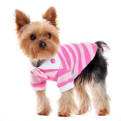 Classic Stripe Dog Polo Shirt - Pink | PupLife Dog Supplies
