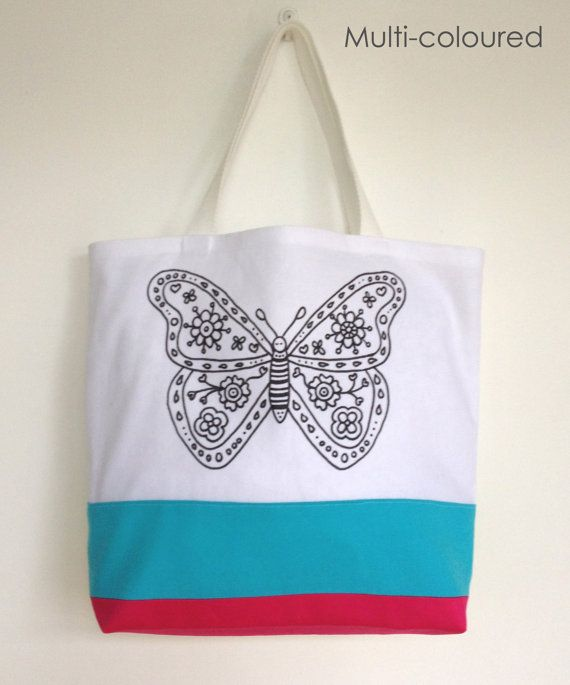 Colouring In Butterfly Design Tote Bag  Black & by SimplyAddColour