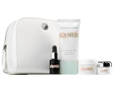 La Mer Gift Set  Creme De La Mer 024 Oz  the Eye Balm Intense 01 Oz  the Regenerating Serum 017 Oz  the Cleansing Foam 1 Oz  Cosmetics Bag ** Be sure to check out this awesome product.