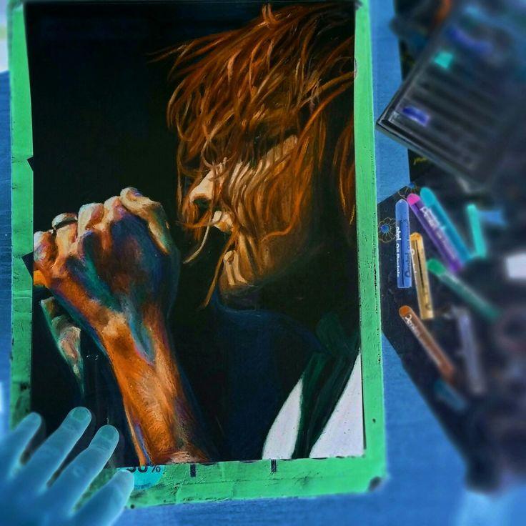 Gerard Way inverted oil pastels fanart instagram: @eenterprisee