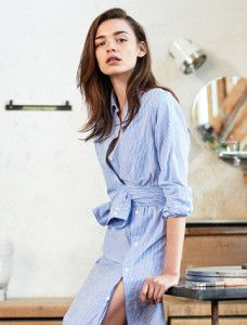 Blue shirt dress with stripes. Learn the 7 unique ways how to wear man's shirt >>> http://justbestylish.com/7-unique-ways-how-to-wear-mans-shirt/
