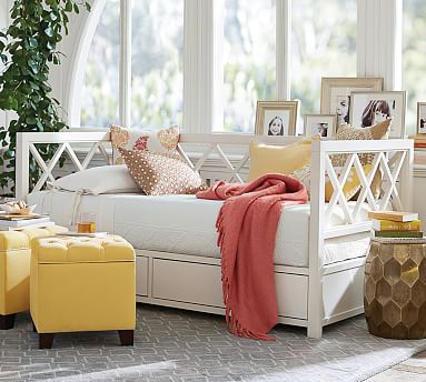 Clara Lattice Storage Daybed Sky White Daybed And Bedrooms