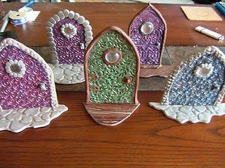 Polymer clay fairy doors, too cute!