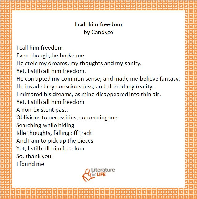 get some inspiration through a poem from one of our participants.