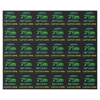 Fun Digital Computing Themed 75th Birthday Wrapping Paper - fun gifts funny diy customize personal