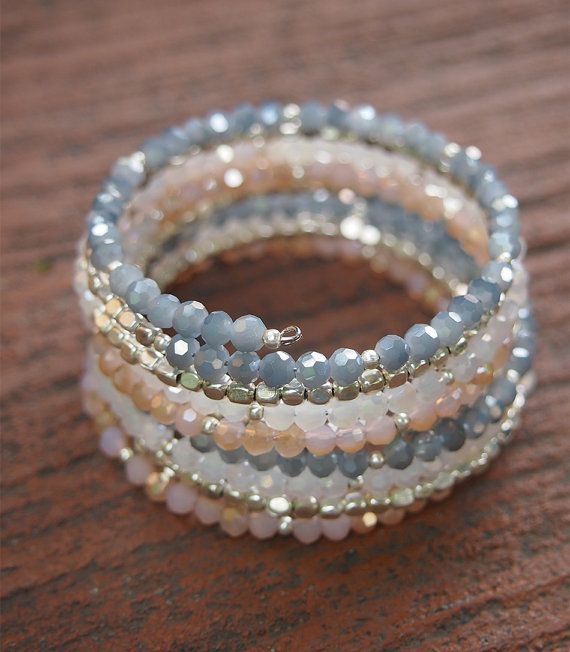 Sandy crystal memory wire bracelet Boho Wrap Bracelet by G2Fdesign