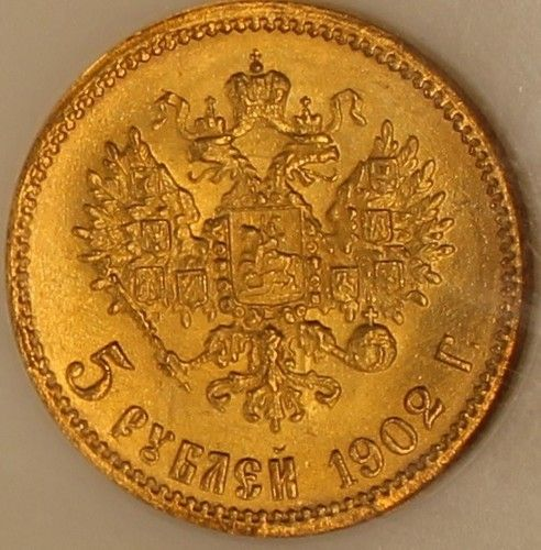 1902 Russia 5 Roubles Gold NGC MS66 Choice Gem Original Coin  Y#62 Estimate….$500.+