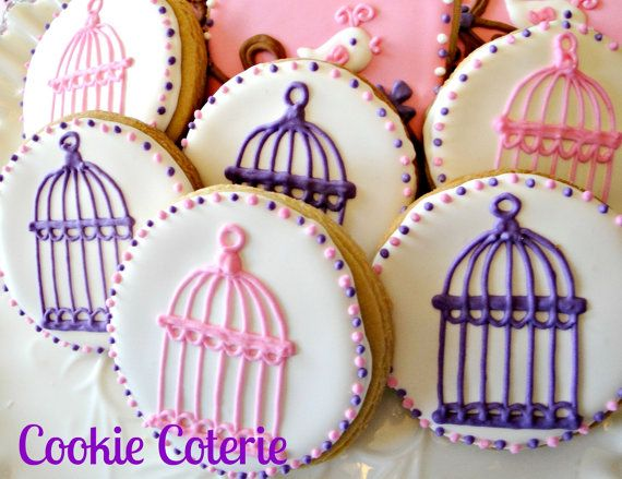 Bird Cage Decorated Cookies Baby Shower Birthday by CookieCoterie, $26.00