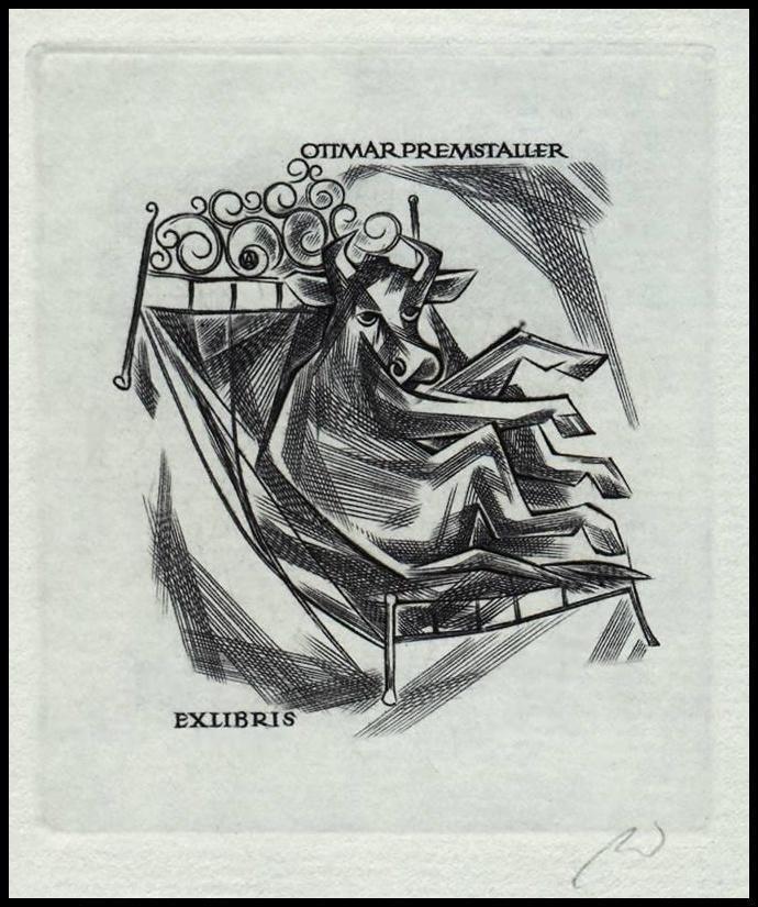 Jakubowski Wojciech C2 Exlibris 1968 Bookplate Bull Taurus Stier Tauro Byk 329 | eBay