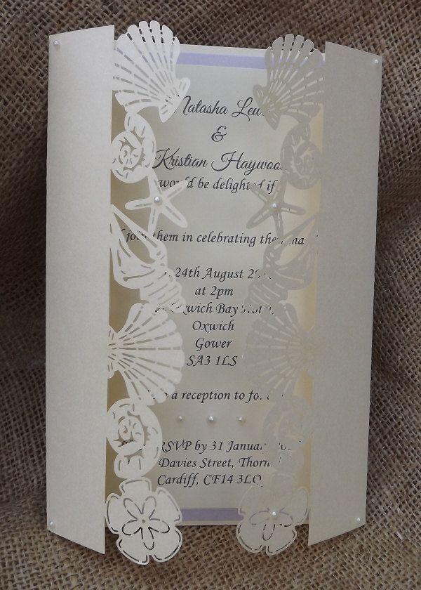 Beach Laser Cut Wedding Invitation by