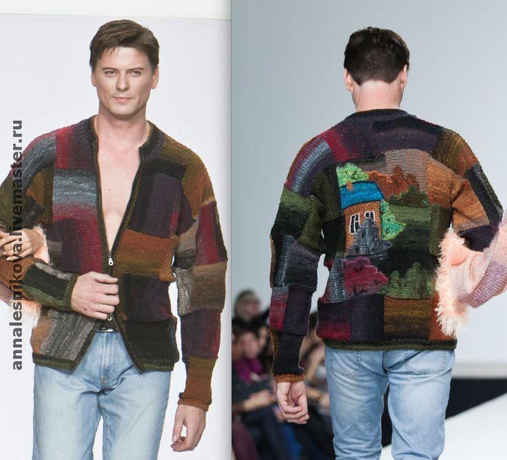 """Купить мужской жакет """"Домики"""" - мода, хендмейд, вязаный жакет, вязаный кардиган, вязаный свитер"""