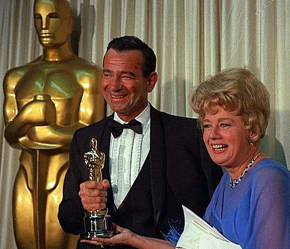 """2/08/2014 1:45pm The Academy Awards Ceremony 1967: Walter Matthau, Best Supporting Actor Oscar for """"The Fortune Cookie"""" 1966 Presenter: Shelley Winters with The Envelope 1966 timelines.latimes.com"""