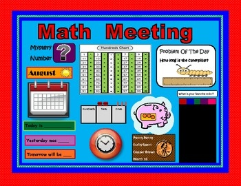 Daily Math Meeting is something I created when I was teaching first grade and finding it difficult to get through the entire curriculum by the end of the year. Daily Math Meeting is a way to introduce many of the concepts that need to be taught in math right from the very beginning of the year and to reinforce them daily using the math wall. At Math Meeting you will be teaching number sense, skip counting, telling time, estimating, counting money, graphing, place value and problem solving…