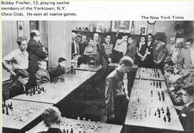 Bobby Fischer playing 12 members of the Yorktown Chess club,1956.