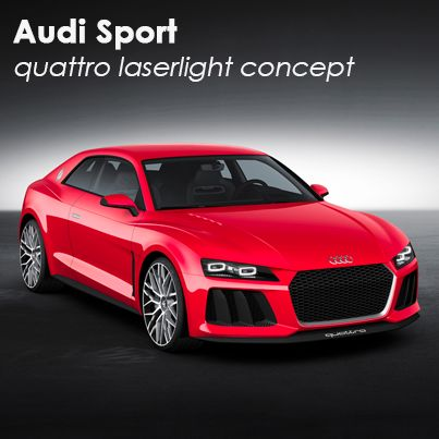 The 700 hp Audi Sport quattro concept features laser headlights with twice the lighting range of traditional LEDs.