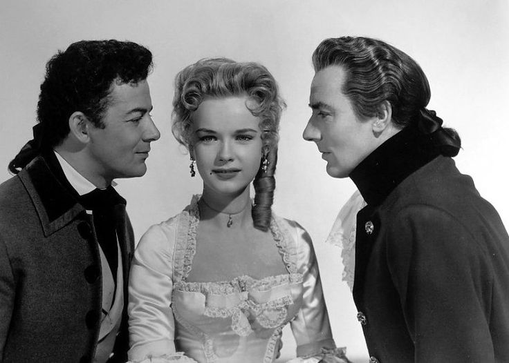 Cornel Wilde, Michael Wilding, and Anne Francis in The Scarlet Coat (1955)