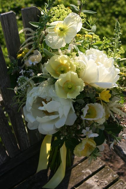 Floret Flower Farm - This whopper includes: Peonies (mystery white), Aruncus (goats beard), Valerian, Icelandic Poppies, Digitalis (foxglove), Raspberry foliage with immature fruit, Rosa multiflora, Lonicera tartarica (bush honeysuckle), Lonicera Americana ( common honeysuckle vine), Aquilega 'McKana Hybrids' (large flowered columbine) and Alchemilla mollis (lady's mantle).