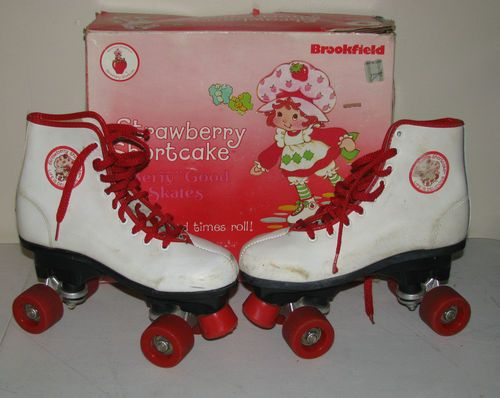strawberry shortcake roller skates! Got these for Christmas- the year my brother unwrapped all our presents and rewrapped them weeks before Christmas!