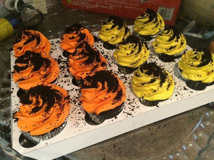 """Construction themed cupcakes vanilla and chocolate sponge with oreo cookie """"dirt"""""""