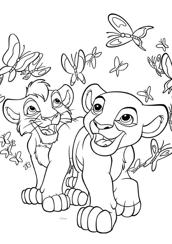 Leijonakuningas-värityskuva. Lion King colouring. Lasten Oman Kirjakerhon tulostettavat värityskuvat. Free printable pattern. lasten   askartelu   käsityöt   värittäminen   DIY ideas   kid crafts   colouring