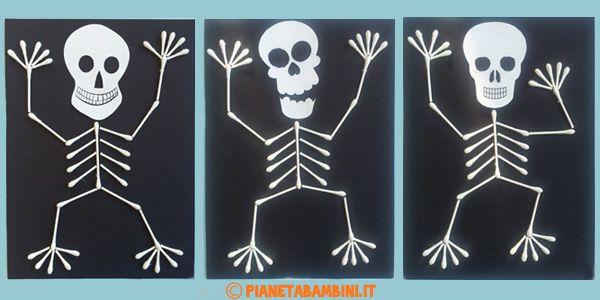 Lavoretti di Halloween: scheletro con cotton fioc e cartoncino