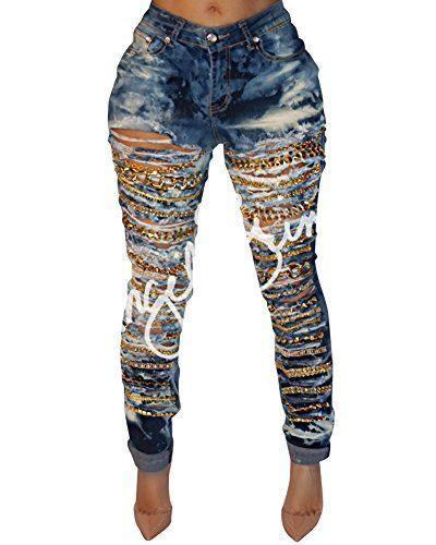 b656f927947d6 Femme Vintage Skinny Denim Jeans Déchirés Slim Pantalons Crayon Pants  Stretch Slim Jeans Bleu M