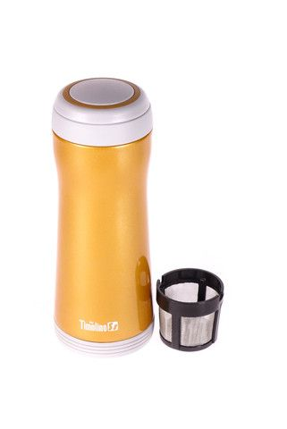 Thermos de couleur orange claire métallique