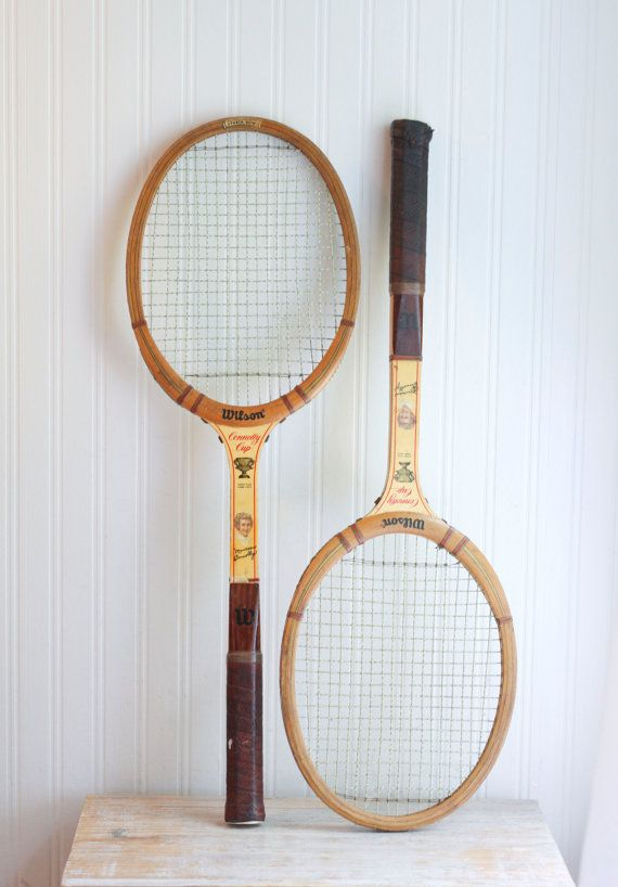 This wooden pair of vintage tennis rackera were made by WILSON and feature Maureen Connolly and are the Connolly Cup rackets. Speed Flex, Fibre Face