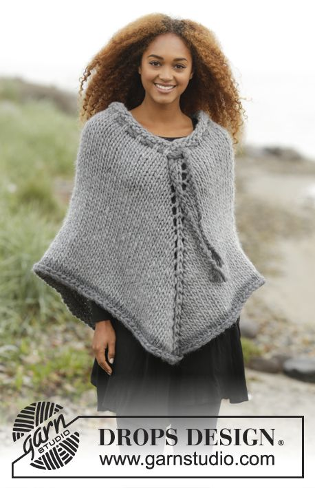 Cozy Cover poncho by DROPS Design. Free knitting Pattern