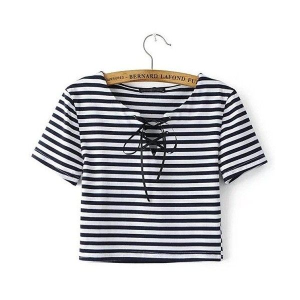 Yoins Stripe Lace-up Cropped T-shirt ($14) ❤ liked on Polyvore featuring tops, t-shirts, navy, shirts & tops, lace up shirt, t shirts, navy shirt, crop t shirt and striped crop top