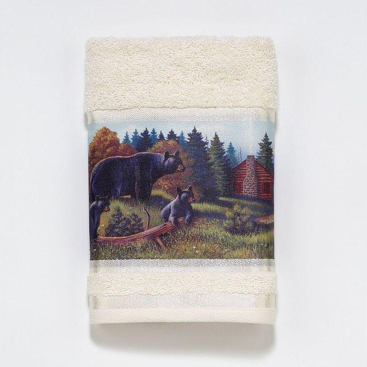 Avanti Black Bear Lodge Hand Towel, Multicolor